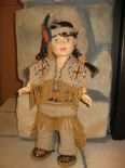 Native American 6 piece outfit.Pants, shirt, wrap, moccasins, headband, necklace.