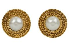 Chanel Logo Braided Faux-Pearl Earrings