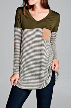 V-Neck long sleeve top. Black and white stripes and top solid color. Patched front pocket matching patched elbows. 96% Polyester, 4% Spandex.