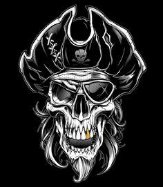 pirate skull wallpaper by - aa - Free on ZEDGE™ Skull Tattoo Design, Skull Design, Tatoo Crane, Images Pirates, Body Art Tattoos, Sleeve Tattoos, Pirate Skull Tattoos, Skull Sketch, Totenkopf Tattoos