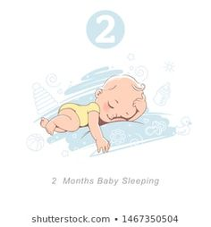 Little baby of 2 month. baby development milestones in first year. Cute little baby boy or girl in diaper sleeping. Background with toys and objects. Baby Milestones First Year, Baby Development Milestones, Baby Development Chart, Cute Little Baby Girl, Baby Boy Or Girl, Small Baby, Milestone Chart, New Year Symbols, Baby Illustration
