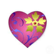 Medieval Flower Heart Sticker