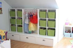 Dress-Up Storage.  You could even put doors on and keep it all concealed if this were doubling as a family room space.