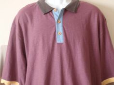 Men's The Territory Ahead Polo Shirt Casual Purple Cotton Short Sleeve Size XL Tall