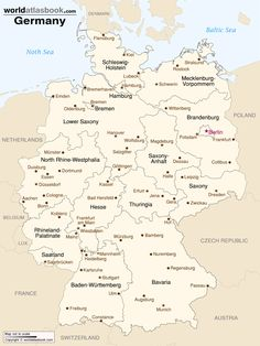map of germany with states and cities