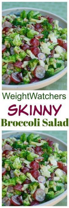Weight Watchers Skinny Broccoli Salad - Simple & Delicious - A family favorite - 4 SmartPoints (Simple Dinner Recipes Weight Watchers) Weight Watchers Salad, Plats Weight Watchers, Weight Watcher Dinners, Weight Watchers Sides, Wieght Watchers, Skinny Recipes, Ww Recipes, Salad Recipes, Cooking Recipes