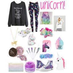 A fashion look from March 2017 by jules-997 featuring Rare London, In Your Dreams, FCTRY, Pillow Pets, GetTheLook and unicorn