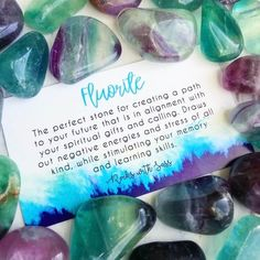 crystal meanings Fluorite comes in clear, blue, purple, yellow & brown and is made of cubic or octahedral crystals. It draws out negative energies and stress of all kinds.