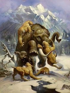 Mastodon and Saber-Tooth by Ken Kelly