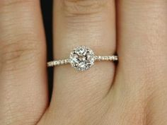 Ultra Petite Amanda 14kt Rose Gold Round Halo Morganite and Diamonds Engagement Ring (Other metals and stone options available)
