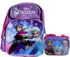 Disney Frozen Anna Elsa Large Backpack Luggage Lunch Bag and Lunchbox 2pc NEW #DisneyFrozen