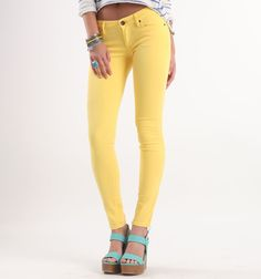 Bullhead Black Colored Bright Skinniest Jeans #PacSun #Bullhead These yellow would go great with a tan!