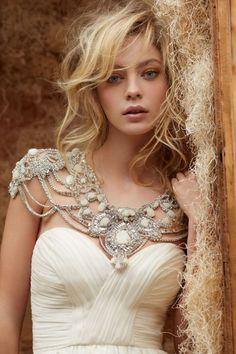 Hayley Paige Silk Georgette Draped Ruffle Alabaster Crystal 6409, Spring wedding dresses ~ Feenwedding.Com