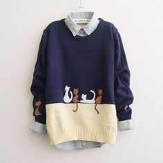 Japanese cat knitted sweater coat