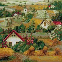 Домики, коттеджи, мельницы, деревни - Пейзажи и здания - Схемы вышивки - Иголка