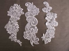 3 Pieces,White Appliques,Sewing,Scrapbooking,Bridal,Lace Embellishments