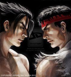 Tekken X Street Fighter: Jin Kazama/ Ryu Cover Art by JophielS.deviantart.com