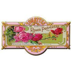 """Savon Roses Preferees"" ~ Vintage French perfume label"