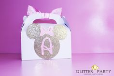 12 Glitter gold and pink Princess Minnie Mouse by TheGlitterParty