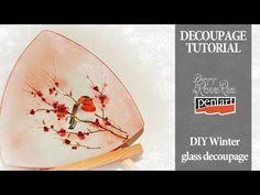 English subtitles - glass decoupage winter decoupage on glass decoupage tutorial - YouTube