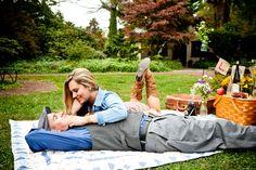 picnic engagement photo