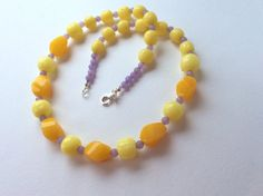 Yellow Jasper and Vintage Lemon Glass Bead by roseyandellen