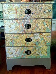 25 DIY Interior Decorating Ideas To Use Maps - Shelterness Repurposed Furniture, Cool Furniture, Painted Furniture, Plywood Furniture, Office Furniture, Modern Furniture, Furniture Design, Furniture Projects, Furniture Makeover
