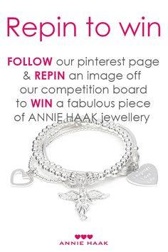 Competition time! Follow ANNIE HAAK on Pinterest & REPIN an image off the competition board for your chance to WIN a fabulous piece of ANNIE HAAK jewellery.