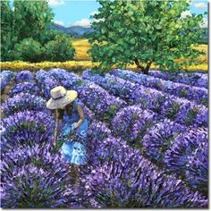 French Girl - Lavender Field Paintings France Provence Art by Jennifer Vranes JensArt