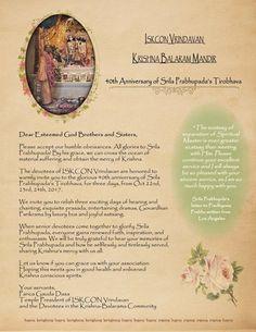 An Invitation to the 40th Anniversary of Srila Prabhupada's Disappearance, Iskcon Vrindavan October 22nd through October 24th 2017