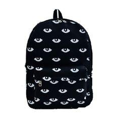 "Harajuku fashion cute eyes backpack - Use the code ""batty"" at Cute Harajuku and Women Fashion for 10% off your order!"