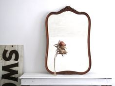 Large Wood Frame Mirror  Antique Wall Mirror  by SnapshotVintage