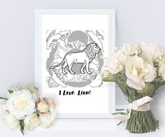 Lion 4  printable poster  gift for him gift for her