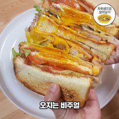 '인생최고 토스트' 만들기 (feat.특급비법) : 네이버 블로그 K Food, I Want To Eat, Desert Recipes, Korean Food, Hot Dog Buns, Asian Recipes, Sandwiches, Deserts, Lunch Box