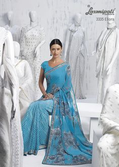 Half-half leheriya & floral designer saree with dedicative chikan embroidery blouse will out number in whole catalog.