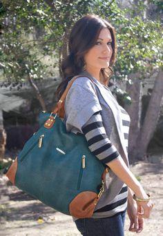 Kate 7-Piece Diaper Bag Set - Dark Teal/Saddle | timi & leslie Diaper Bags