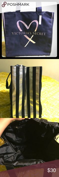 Large black and gold tote(with tags) Victoria's Secret Tote Victoria's Secret Bags Totes