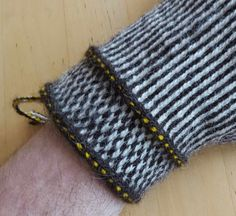 These are twined knitted mittens using the simplest way of patterning: two colours making stripes, and making checkers by being reversed e... Knit Mittens, Knitted Gloves, Striped Mittens, Knitting Charts, Knitting Stitches, Knitting Ideas, Hand Spinning, Knit Or Crochet, Twine