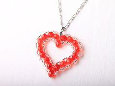 Návod na valentýnské srdce z korálků - 36 Pendant Necklace, Jewelry, Beads, Jewlery, Jewerly, Schmuck, Jewels, Jewelery, Drop Necklace