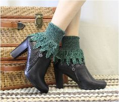 Lace sock,cuff socks, victorian lace, long lace socks,women,Signature Lace Sock Hunter Green | SLC2