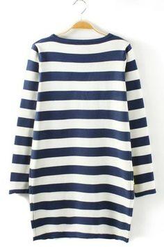 Easy Striped Long Sleeve Dress - OASAP.com