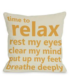'Time to Relax' Pillow - Set of Two #zulily #zulilyfinds