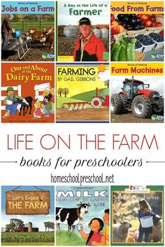 Teach kids about farming with a collection of children's picture books about farms. From machinery to food production, kids will learn about life on a farm. Toddler Books, Childrens Books, Kid Books, Preschool Books, Preschool Farm, Montessori Books, Preschool Learning, The Farm Book, Farm Activities