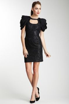 i would probably wear this to a fashion event... Mackage Drape Sleeve Brocade Mini