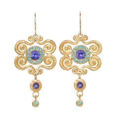 Paraiba Tanzanite Arabesque Dangle Earrings | From a unique collection of vintage dangle earrings at https://www.1stdibs.com/jewelry/earrings/dangle-earrings/