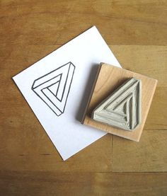 Penrose Triangle / Impossible Object  Hand Carved Stamp by Extase