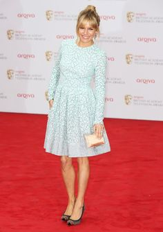 Sienna Miller in light blue Matthew Williamson, clear Charlotte Olympia clutch and studded Christian Louboutin pumps