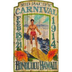 1914 Honolulu Hawaii Surfer – Vintage Sign