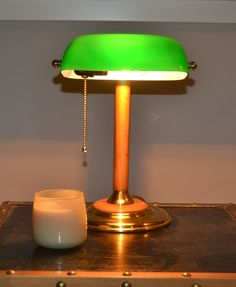 Desk Lamp, Table Lamp, Bankers Lamp, Vintage Lamps, Preserves, Turning, Cord, Brass, Bright