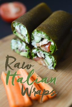 These Raw Italian Wraps are a great way to eat your favorite veggies. Dehydrated, raw, vegan, gluten-free, & delicious. Enjoy plain, with hummus, or ranch.